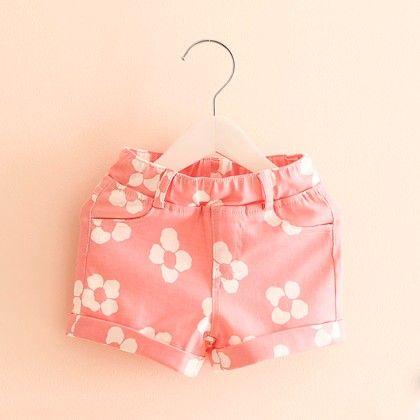 Pink Floral Printed Summer Shorts - Mangopanda