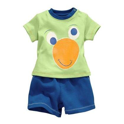 Funky Animal Print T-shirt And Shorts - 2 Pcs Set - Green - Jumping Baby