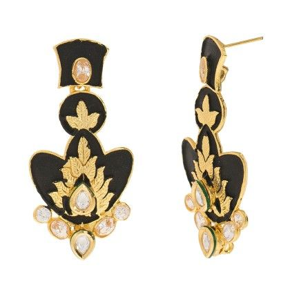 3 Layered Black Matte Finish Mina  Earrings - Trends