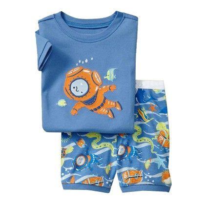 Blue Underwater Diver Print T-shirt & Short Set - Lil Mantra