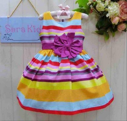 Cute Multi Striped Dress With Purple Bow - Sara Kids