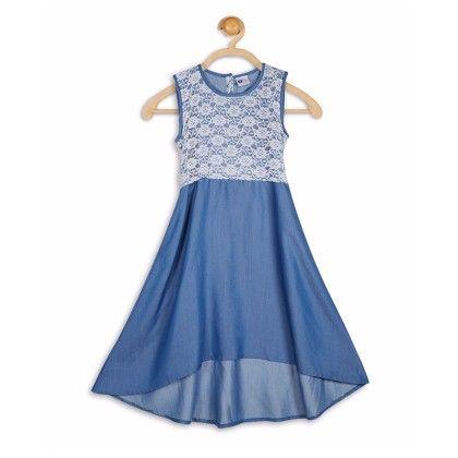 Lace Yoke With Denim Asymmetric Dress - 612 League