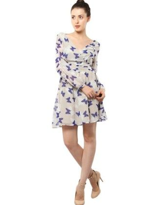Printed Skater Dress With Long Sleeves - XNY