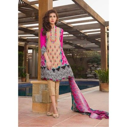 Semistitched Embroidered  Multi Color Suit - Mauve Collection