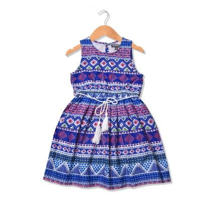 Beautiful Multicolor Aztec Printed Girl Dress With White Tassel Belt - Sequences Clothing