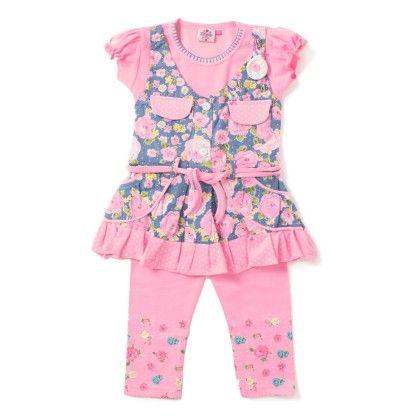 Pink Floral Print T-shirt & Capri Set - Eteenz