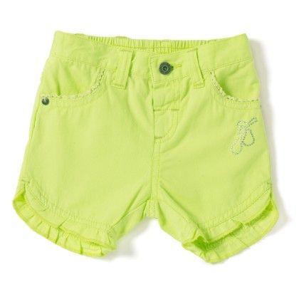 Baby Girl's Lime Green Green Non Denim Shorts - Mini Klub