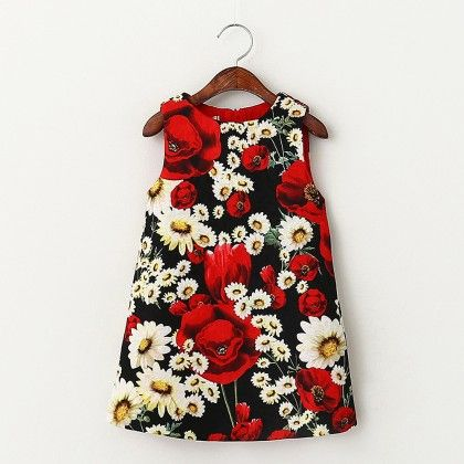 Red And Black Floral Print Dress - Lil Mantra