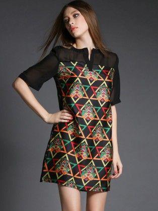 Geometrical Beautiful Prints Dress - Mauve Collection