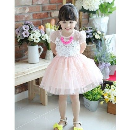 Beautiful Pink Tutu Dress With Floral Lace Bodice - DCGN