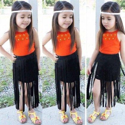 Stylish Orange Top With Tassel Skirt Set Of 2 - Belle Maison