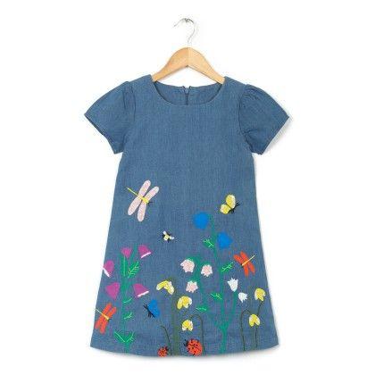 Flower Patch Work Dress For Girls - Blue - Aww Hunnie!!