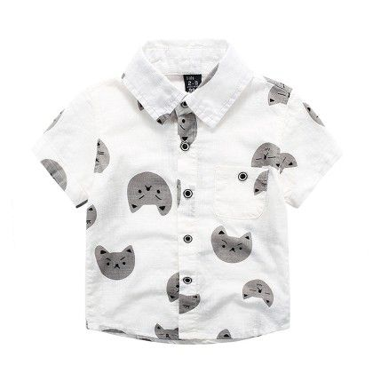 White Cat Printed Shirt - Lil Mantra