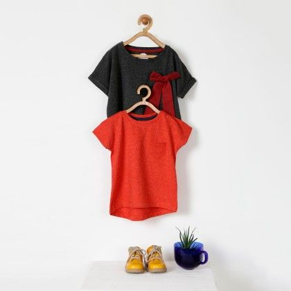 Dark Grey And Orange Cotton T-shirt - Pack Of 2 - Pluie