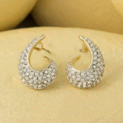 Bold Gold Plated Earring Set With Austrian Diamonds - Shriya