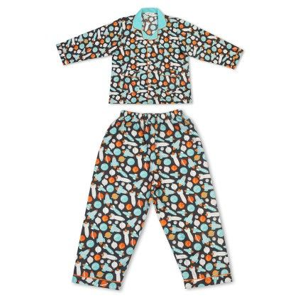 Space Print Night Suit For Boys - Cuddle Up