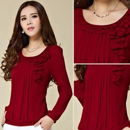 Red Ruffle Long Sleeves Top - STUPA FASHION