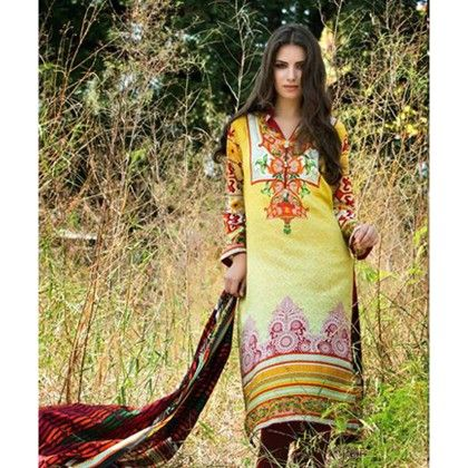 Yellow Maroon Semistitched Dress Material - Mauve Collection