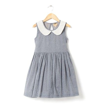 Blue Dress With White Dots And White Net Collars - Hugs & Tugs