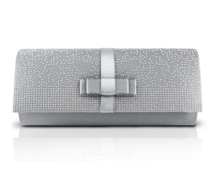 Jacki Design Elegant Beaded Satin Evening Clutch Silver
