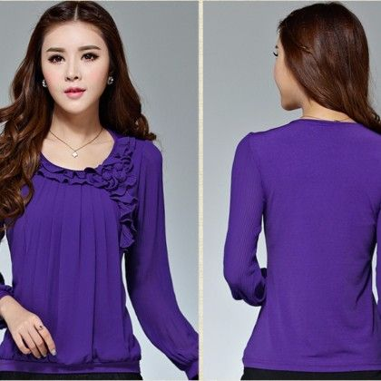 Purple Ruffle Long Sleeves Top - STUPA FASHION