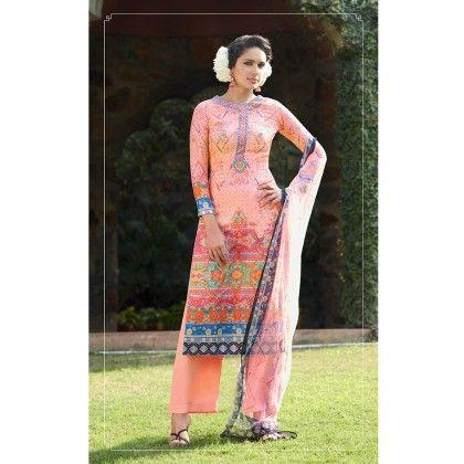 Peach Pink Cotton Digital Print Dress Material - Afreen