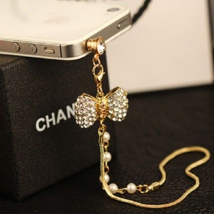 Bow And Pearls Mobile Dust Plug - Flaunt Chic