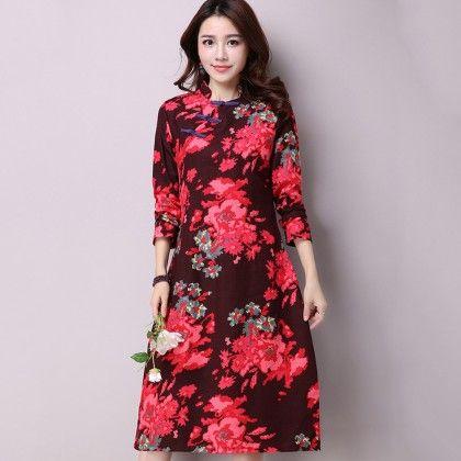Vintage Floral Printed Short Dress - Mauve Collection