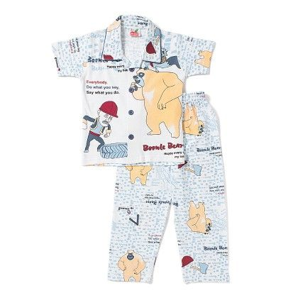 Bare Printed Night Suit- Light Blue - RED_APPLE