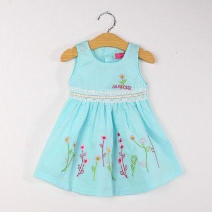 Cute Blue Sleeveless Floral Lace Dress - FlowerButterfly