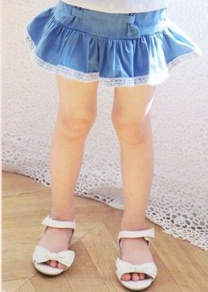 Stylish Short Skirt With Gathers - Blue - Pink Ideal