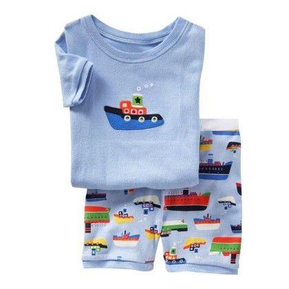 Blue Boat Print T-shirt & Short Set - Lil Mantra