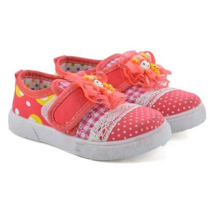 Red Slip On Shoes With Doll Motif - Willy Winkies