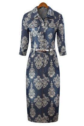 Classy Denim Print Dress - Mauve Collection