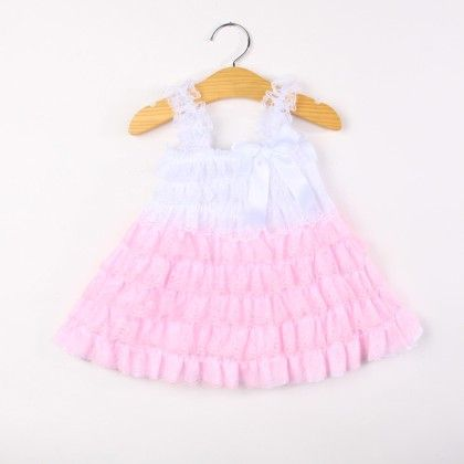 Pink And White Ruffle Sling Dress - Pink Whale