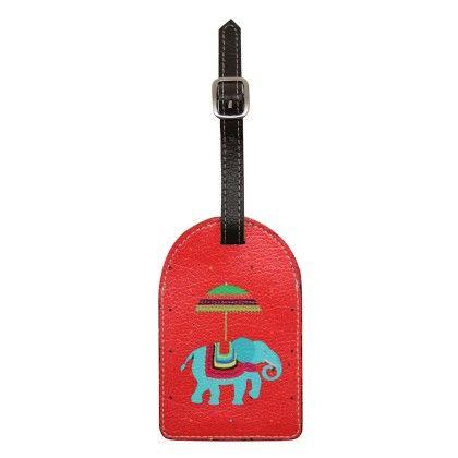 Luggage Tag Red Flying Elephants - The Elephant Company