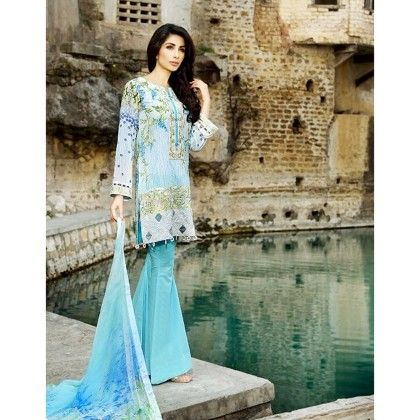 Beautiful Pakistani Style Printed Cotton Dress Material - Sky Blue - Afreen
