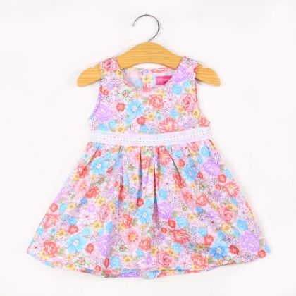 Beautiful Flower Print Summer Dress- Pink - FlowerButterfly