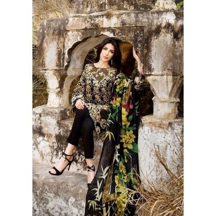 Beautiful Pakistani Style Printed Cotton Dress Material - Black - Afreen