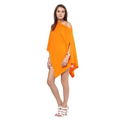 Knitted Poncho Cape Wrap Top Neon Orange - Pluchi