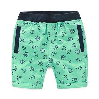 Trendy And Cute Summer Shorts For Boys  - Anchor Print' - Mauve Collection