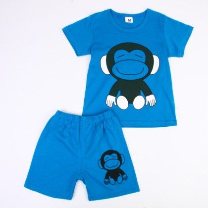 Cute Monkey Print Top & Shorts Set - Dark Blue - Ton