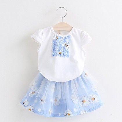 Blue Floral Printed Top & Skirt Set - Lil Mantra