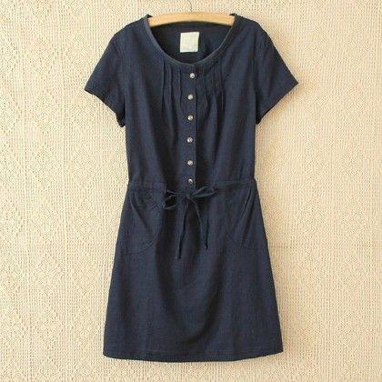 Navy Loose Fit Short Dress - STUPA FASHION