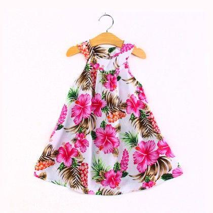 Hibiscus Flower Print  Halter Neck Dress - Child NY