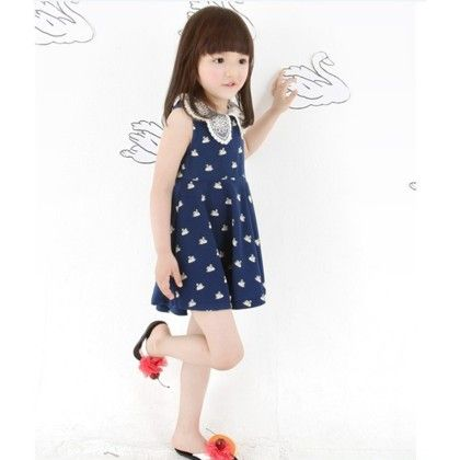 White Dotted Blue Dress With White Collar - Toy Balloon Kids