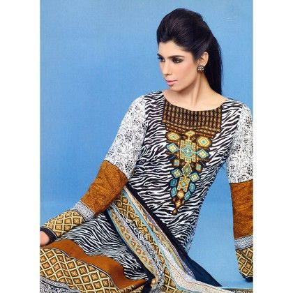 Brown Printed Semistitched Suit - Mauve Collection