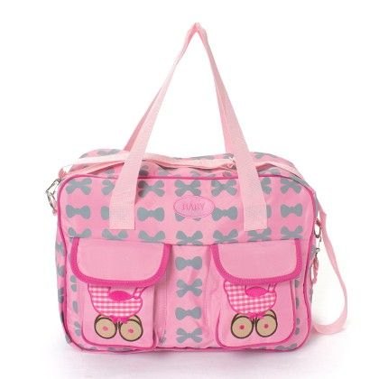 Light Pink Diaper Bag With Gray Bows - A Baby