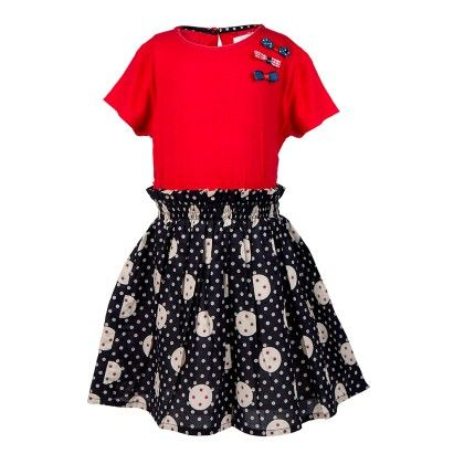 Red  Mnm Prtd Dress With Bow Applique-red - Soul Fairy