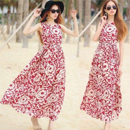 Maroon Floral Print Summer Long Dress - Dell's World
